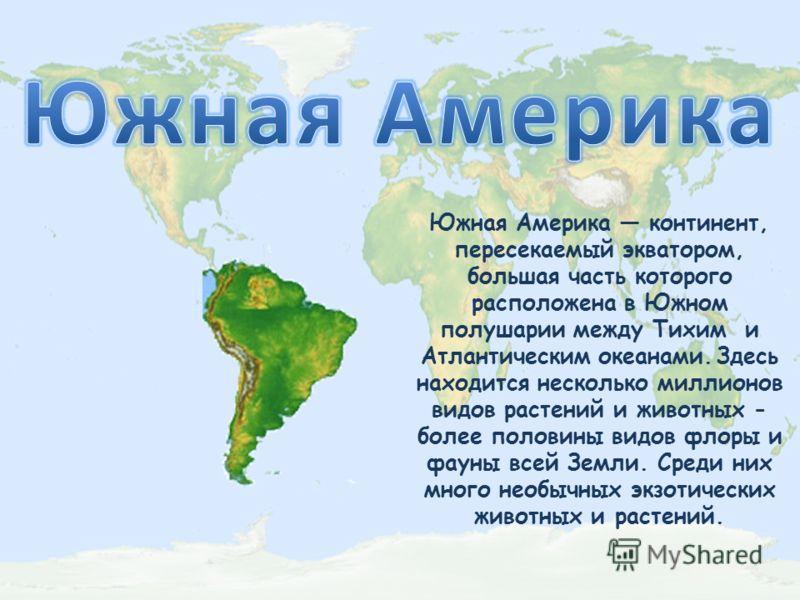 Южная Америка континент, пересекаемый экватором, большая часть которого расположена в Южном полушарии между Тихим и Атлантическим океанами. Здесь находится несколько миллионов видов растений и животных - более половины видов флоры и фауны всей Земли.
