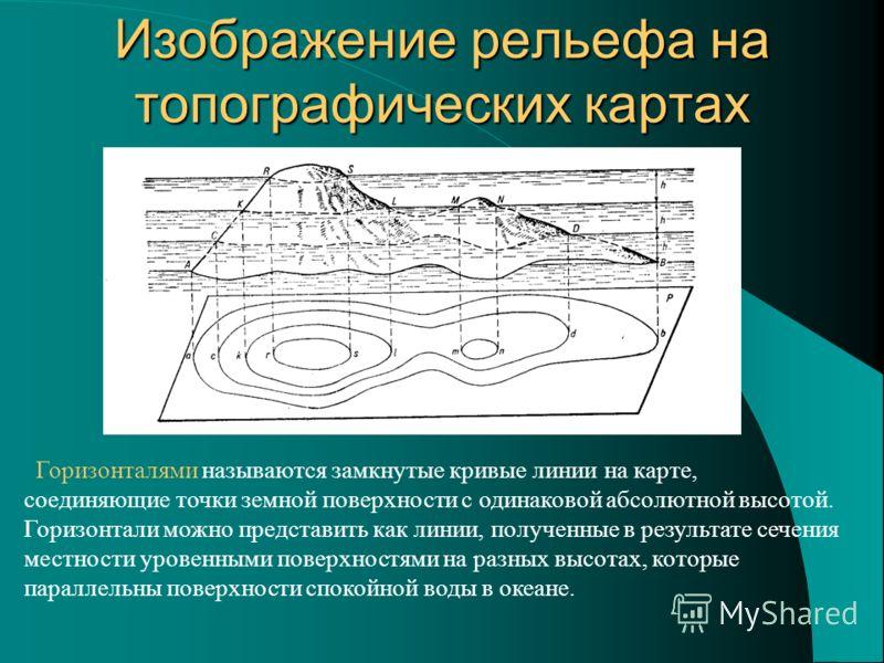 Изображение рельефа на топографических картах Горизонталями называются замкнутые кривые линии на карте, соединяющие точки земной поверхности с одинаковой абсолютной высотой. Горизонтали можно представить как линии, полученные в результате сечения мес