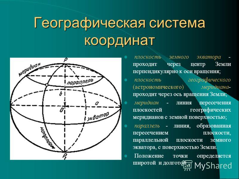 Географическая система координат плоскость земного экватора - проходит через центр Земли перпендикулярно к оси вращения; плоскость географического (астрономического) меридиана- проходит через ось вращения Земли; меридиан - линия пересечения плоскосте