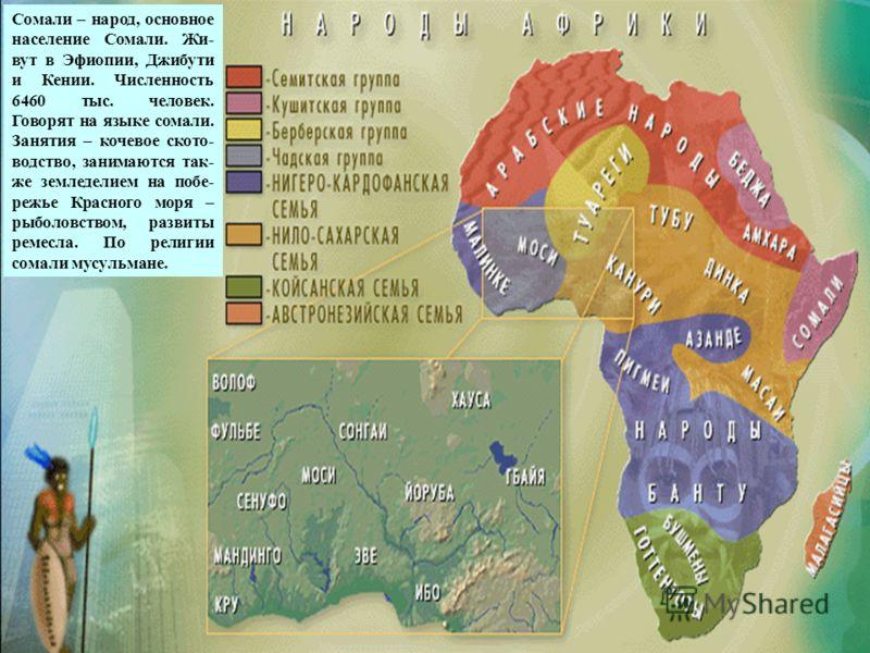 сомали Сомали – народ, основное население Сомали. Жи- вут в Эфиопии, Джибути и Кении. Численность 6460 тыс. человек. Говорят на языке сомали. Занятия – кочевое ското- водство, занимаются так- же земледелием на побе- режье Красного моря – рыболовством
