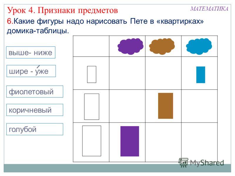 6.Какие фигуры надо нарисовать Пете в «квартирках» домика-таблицы. Урок 4. Признаки предметов выше- ниже шире - уже фиолетовый коричневый голубой
