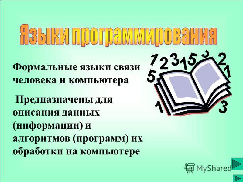 Формальные языки связи человека и компьютера Предназначены для описания данных (информации) и алгоритмов (программ) их обработки на компьютере