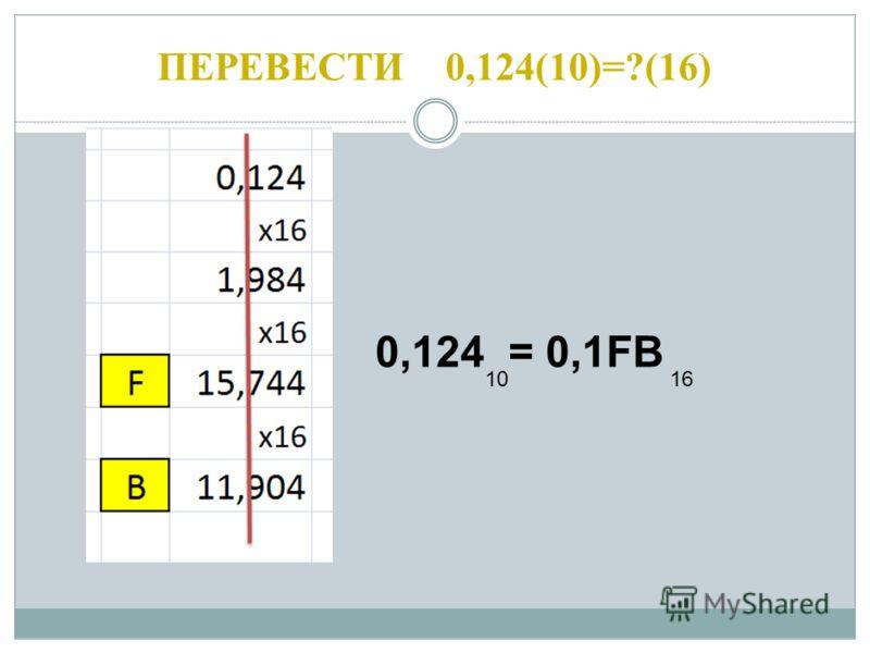 ПЕРЕВЕСТИ 0,124(10)=?(16) 0,124 = 0,1FB 1016