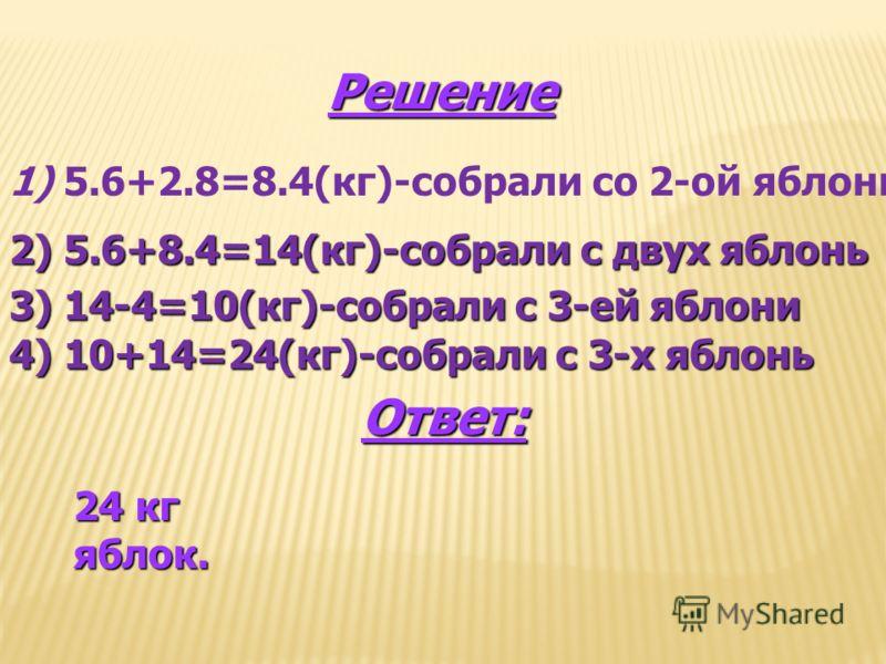 Решение 1) 5.6+2.8=8.4(кг)-собрали со 2-ой яблони 2) 5.6+8.4=14(кг)-собрали с двух яблонь 3) 14-4=10(кг)-собрали с 3-ей яблони 4) 10+14=24(кг)-собрали с 3-х яблонь Ответ: 24 кг яблок.