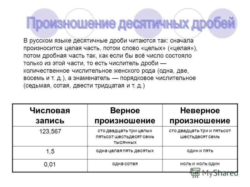 В русском языке десятичные дроби читаются так: сначала произносится целая часть, потом слово «целых» («целая»), потом дробная часть так, как если бы всё число состояло только из этой части, то есть числитель дроби количественное числительное женского
