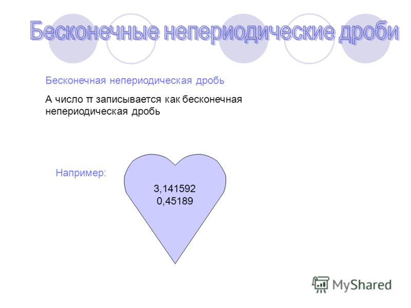 Бесконечная непериодическая дробь А число π записывается как бесконечная непериодическая дробь Например: 3,141592 0,45189
