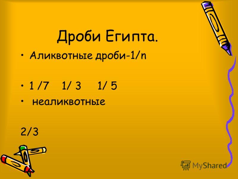 Дроби Египта. Аликвотные дроби-1/n 1 /7 1/ 3 1/ 5 неаликвотные 2/3