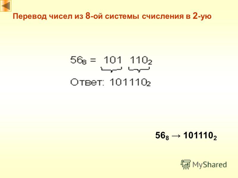 Перевод чисел из 8 -ой системы счисления в 2 -ую 56 8 101110 2