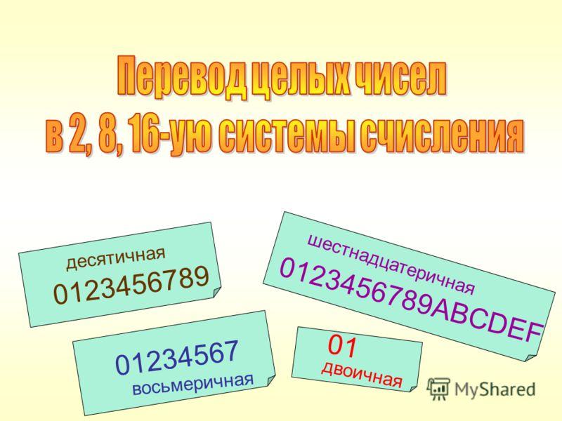 0123456789ABCDEF 0123456789 01234567 01 шестнадцатеричная десятичная двоичная восьмеричная