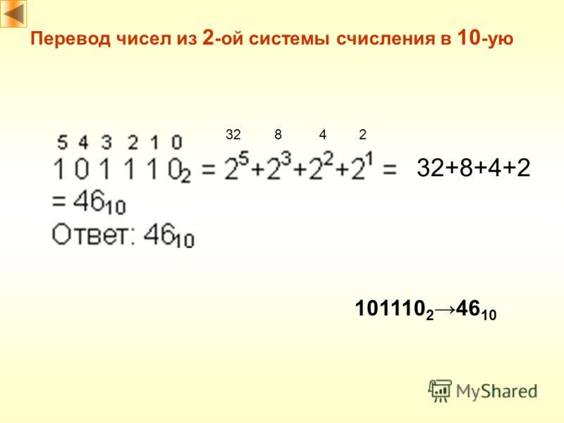 Перевод чисел из 2 -ой системы счисления в 10 -ую 32842 32+8+4+2 101110 246 10