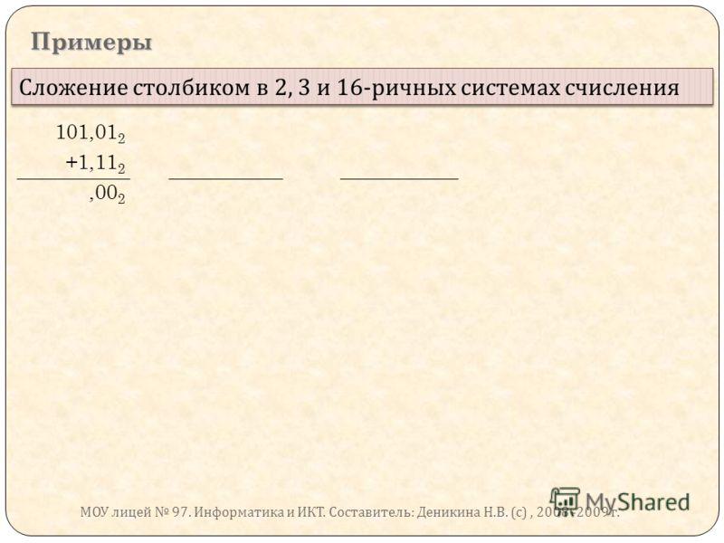 Примеры Сложение столбиком в 2, 3 и 16- ричных системах счисления 101,01 2 +1,11 2,00 2 МОУ лицей 97. Информатика и ИКТ. Составитель : Деникина Н. В. ( с ), 2008 -2009 г.