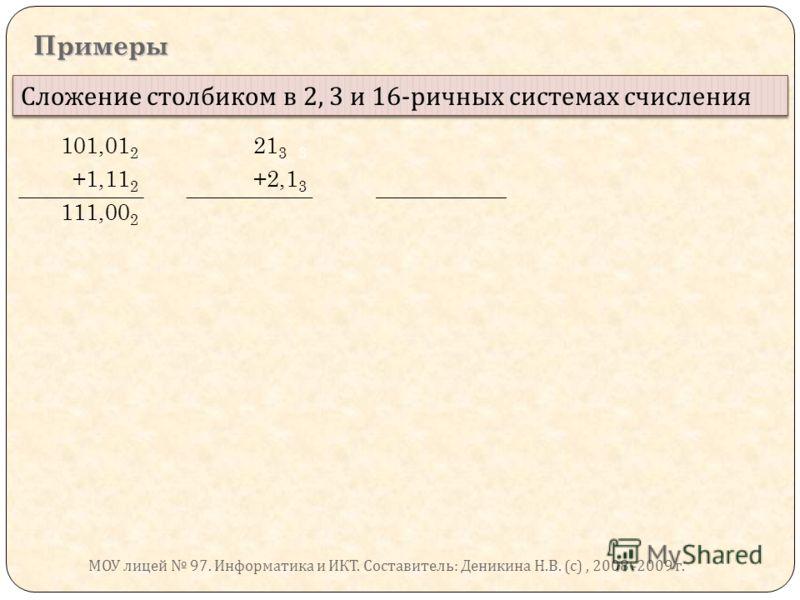 Примеры Сложение столбиком в 2, 3 и 16- ричных системах счисления 101,01 2 21 3 3 +1,11 2 +2,1 3 111,00 2 МОУ лицей 97. Информатика и ИКТ. Составитель : Деникина Н. В. ( с ), 2008 -2009 г.