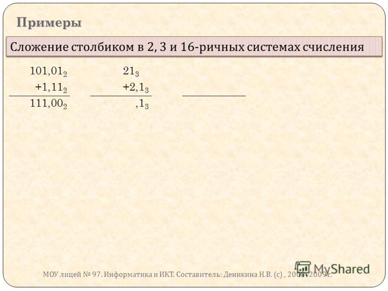 Примеры Сложение столбиком в 2, 3 и 16- ричных системах счисления 101,01 2 21 3 3 +1,11 2 +2,1 3 111,00 2,1 3 МОУ лицей 97. Информатика и ИКТ. Составитель : Деникина Н. В. ( с ), 2008 -2009 г.