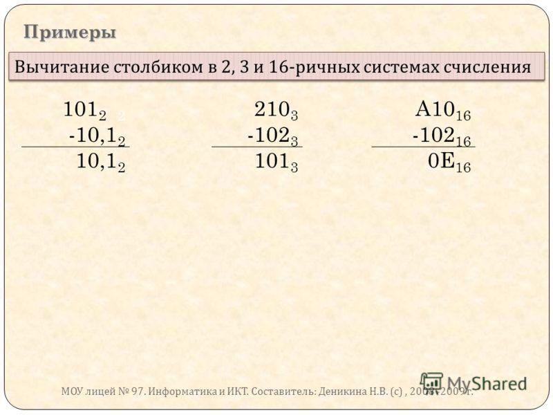 Примеры Вычитание столбиком в 2, 3 и 16- ричных системах счисления 101 2 2 210 3 A10 16 -10,1 2 -102 3 -102 16 10,1 2 101 3 0E 16 МОУ лицей 97. Информатика и ИКТ. Составитель : Деникина Н. В. ( с ), 2008 -2009 г.