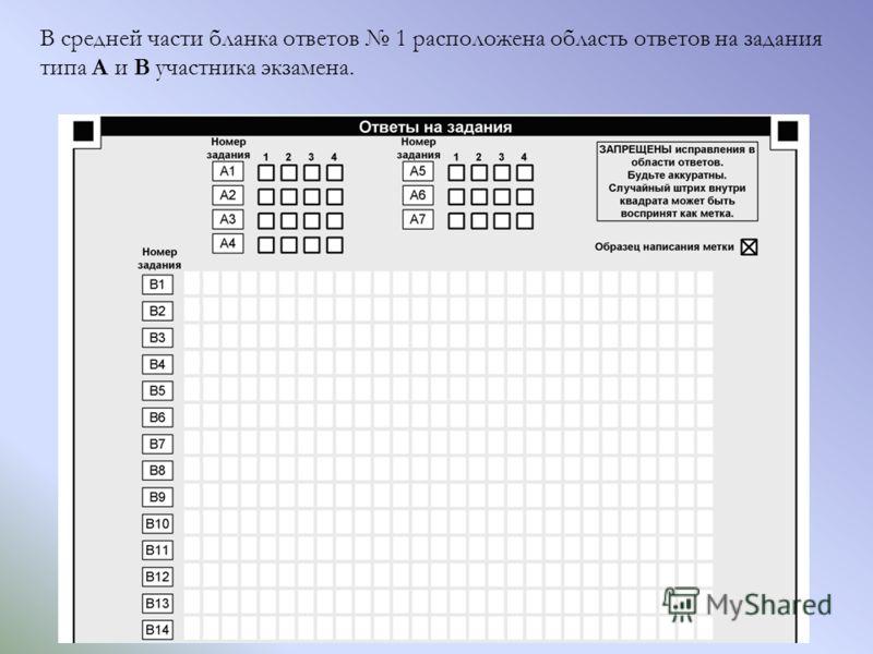 В средней части бланка ответов 1 расположена область ответов на задания типа А и В участника экзамена.