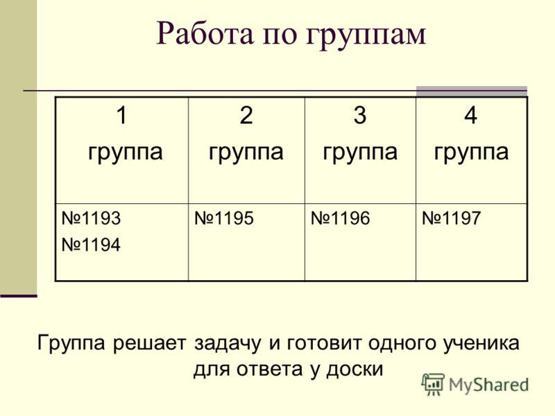Работа по группам 1 группа 2 группа 3 группа 4 группа 1193 1194 119511961197 Группа решает задачу и готовит одного ученика для ответа у доски