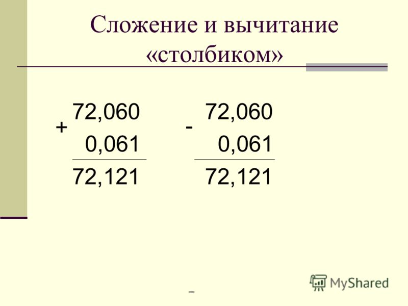 Сложение и вычитание «столбиком» 72,060 0,061 72,121 72,060 0,061 72,121 + _ -