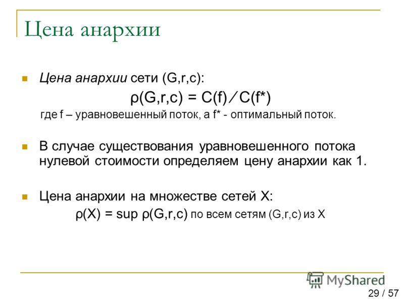Цена анархии Цена анархии сети (G,r,c): ρ(G,r,c) = C(f) C(f*) где f – уравновешенный поток, а f* - оптимальный поток. В случае существования уравновешенного потока нулевой стоимости определяем цену анархии как 1. Цена анархии на множестве сетей X: ρ(