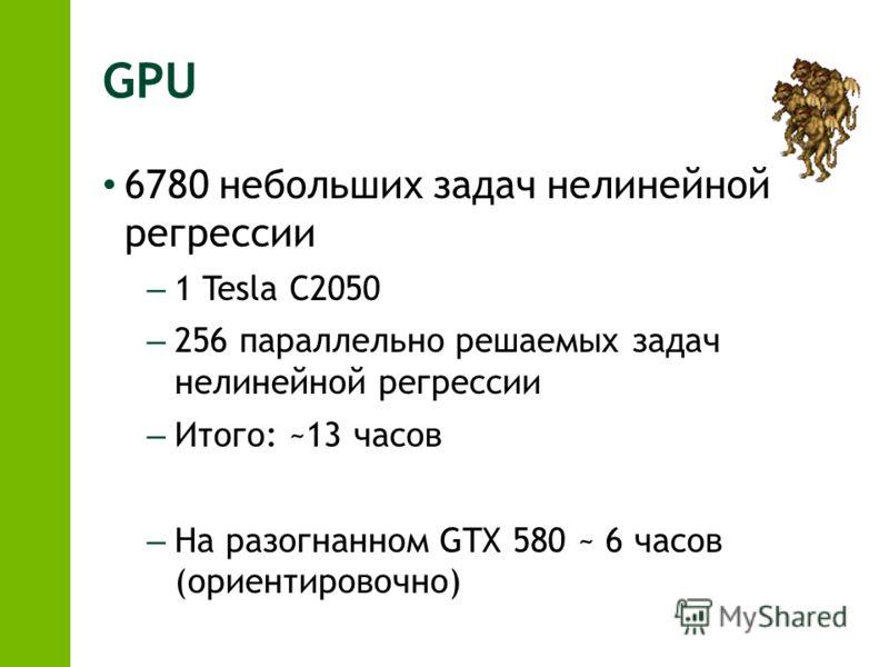 GPU 6780 небольших задач нелинейной регрессии – 1 Tesla C2050 – 256 параллельно решаемых задач нелинейной регрессии – Итого: ~13 часов – На разогнанном GTX 580 ~ 6 часов (ориентировочно)
