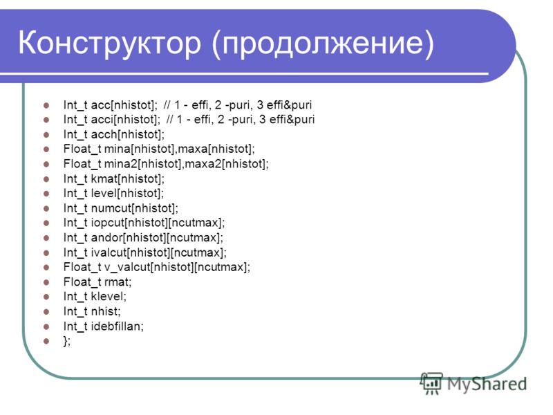 Конструктор (продолжение) Int_t acc[nhistot]; // 1 - effi, 2 -puri, 3 effi&puri Int_t acci[nhistot]; // 1 - effi, 2 -puri, 3 effi&puri Int_t acch[nhistot]; Float_t mina[nhistot],maxa[nhistot]; Float_t mina2[nhistot],maxa2[nhistot]; Int_t kmat[nhistot
