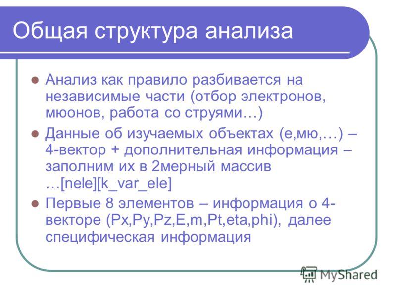 Общая структура анализа Анализ как правило разбивается на независимые части (отбор электронов, мюонов, работа со струями…) Данные об изучаемых объектах (е,мю,…) – 4-вектор + дополнительная информация – заполним их в 2мерный массив …[nele][k_var_ele]