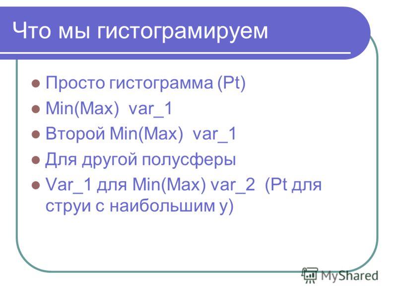 Что мы гистограмируем Просто гистограмма (Pt) Min(Max) var_1 Второй Min(Max) var_1 Для другой полусферы Var_1 для Min(Max) var_2 (Pt для струи с наибольшим y)