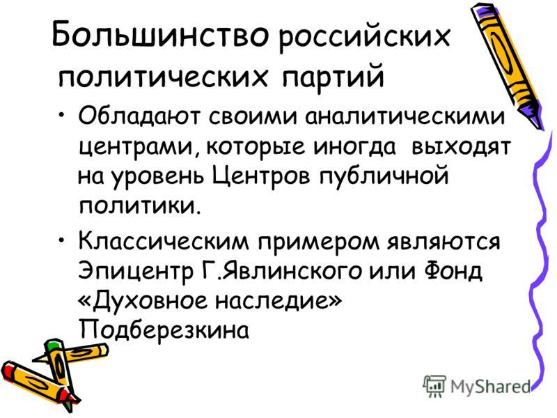 В сфере подготовки экономи- ческих решений в России Успешно действуют несколько «Мозговых фабрик», так или иначе связанных со структурами исполнительной власти: Это Институт проблем переходного периода Е.Гайдара и Институт экономики города в Москве А