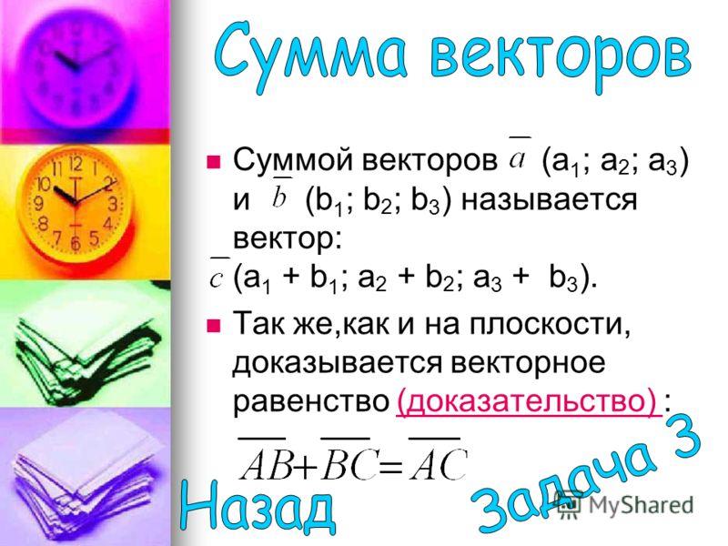 Суммой векторов (a 1 ; а 2 ; а 3 ) и (b 1 ; b 2 ; b 3 ) называется вектор: (a 1 + b 1 ; а 2 + b 2 ; а 3 + b 3 ). Так же,как и на плоскости, доказывается векторное равенство (доказательство) :(доказательство)