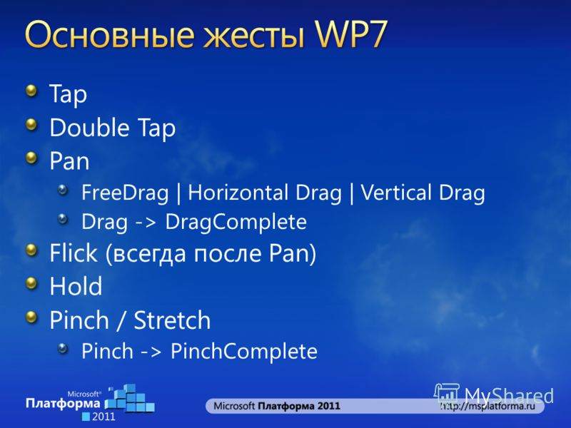 Tap Double Tap Pan FreeDrag | Horizontal Drag | Vertical Drag Drag -> DragComplete Flick (всегда после Pan) Hold Pinch / Stretch Pinch -> PinchComplete