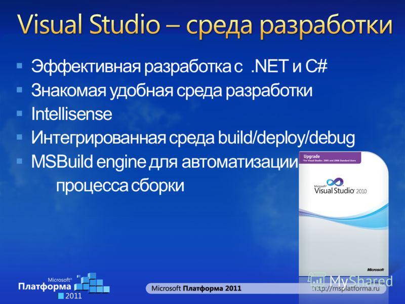 Эффективная разработка с.NET и C# Знакомая удобная среда разработки Intellisense Интегрированная среда build/deploy/debug MSBuild engine для автоматизации процесса сборки