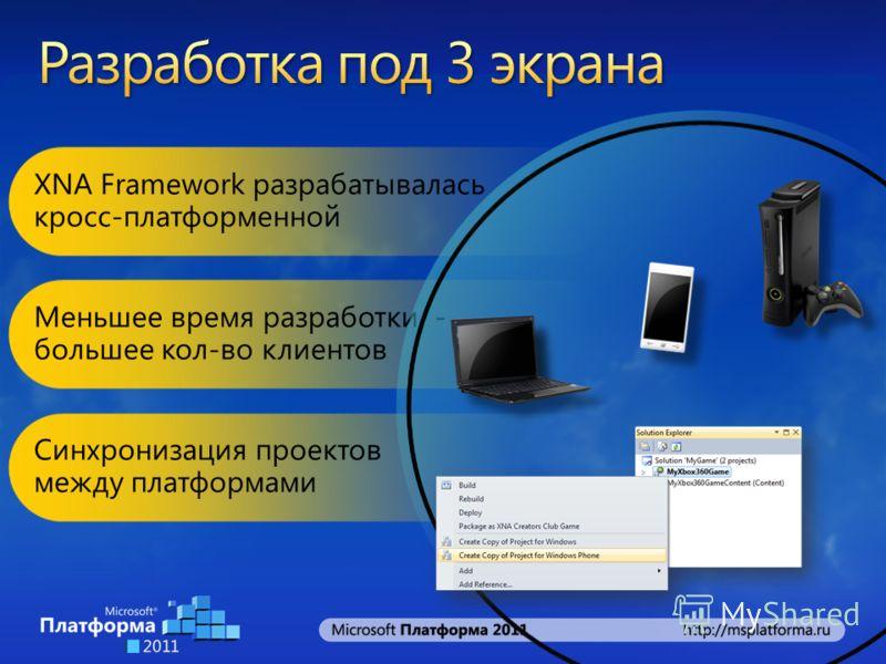 XNA Framework разрабатывалась кросс-платформенной Меньшее время разработки - большее кол-во клиентов Синхронизация проектов между платформами