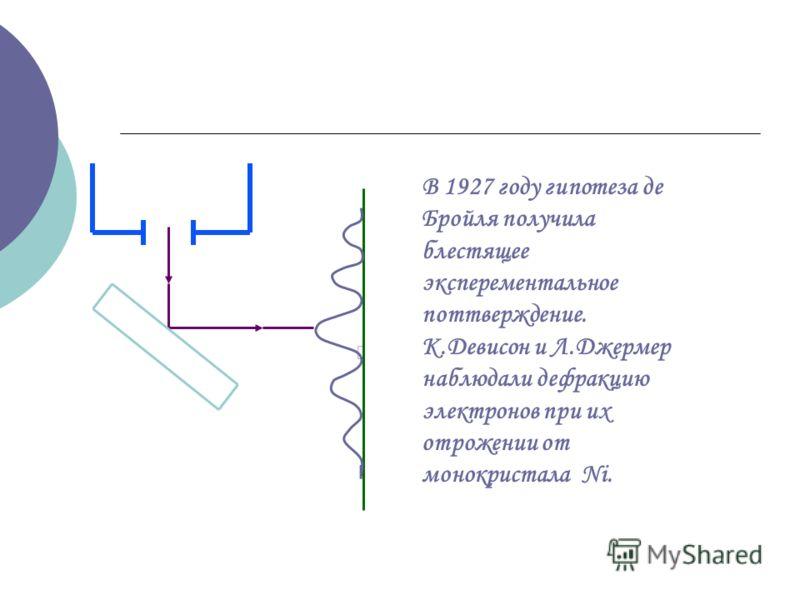 В 1927 году гипотеза де Бройля получила блестящее эксперементальное поттверждение. К.Девисон и Л.Джермер наблюдали дефракцию электронов при их отрожении от монокристала Ni.