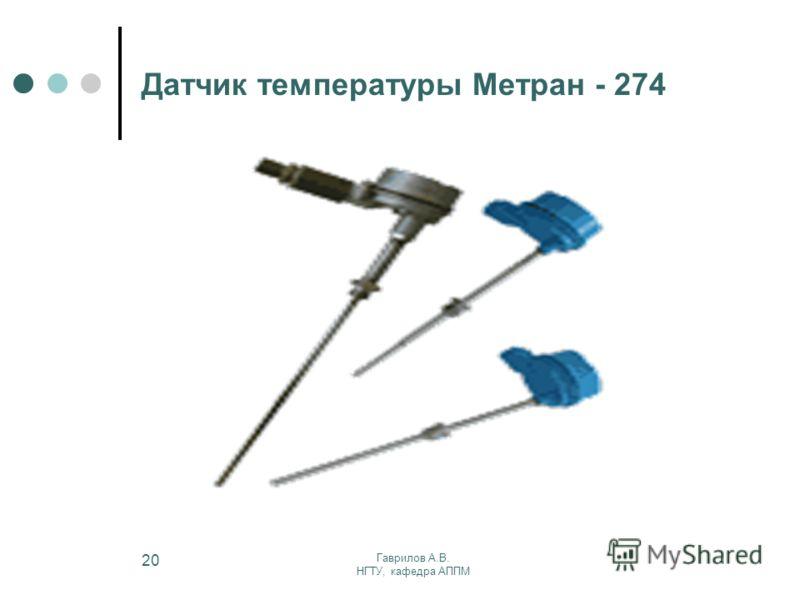 Гаврилов А.В. НГТУ, кафедра АППМ 20 Датчик температуры Метран - 274