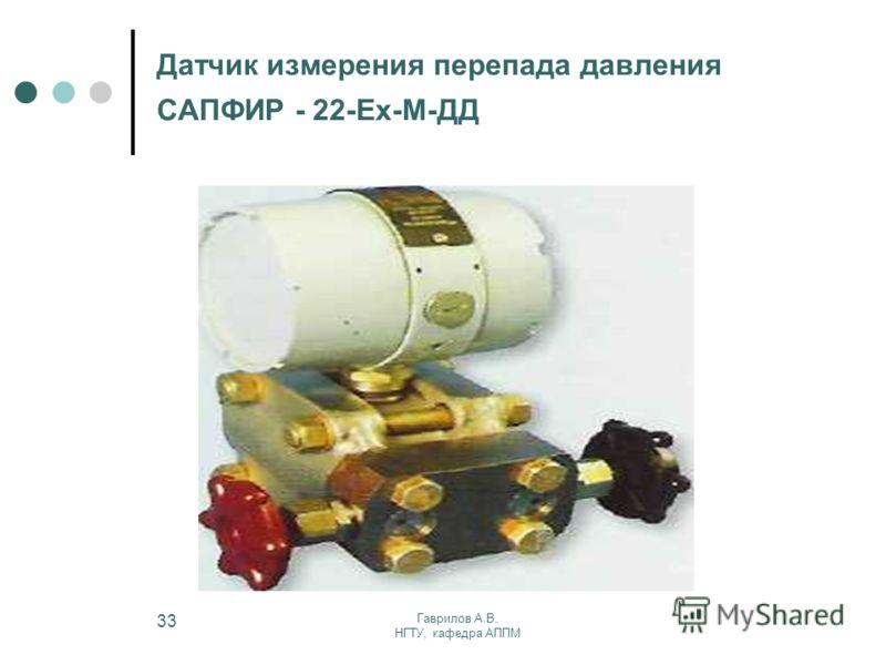 Гаврилов А.В. НГТУ, кафедра АППМ 33 Датчик измерения перепада давления САПФИР - 22-Ех-М-ДД