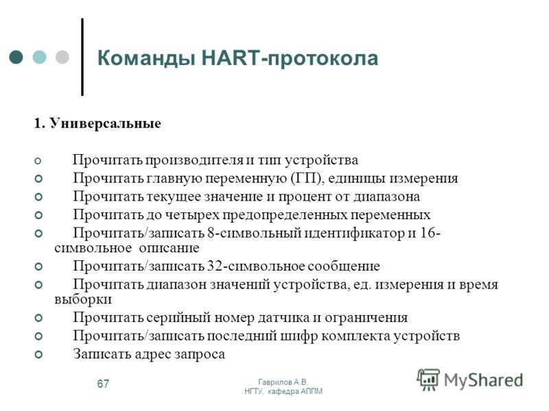 Гаврилов А.В. НГТУ, кафедра АППМ 67 Команды HART-протокола 1. Универсальные Прочитать производителя и тип устройства Прочитать главную переменную (ГП), единицы измерения Прочитать текущее значение и процент от диапазона Прочитать до четырех предопред