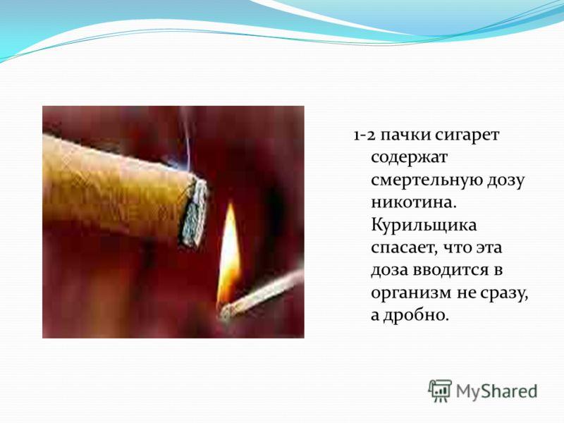 1-2 пачки сигарет содержат смертельную дозу никотина. Курильщика спасает, что эта доза вводится в организм не сразу, а дробно.