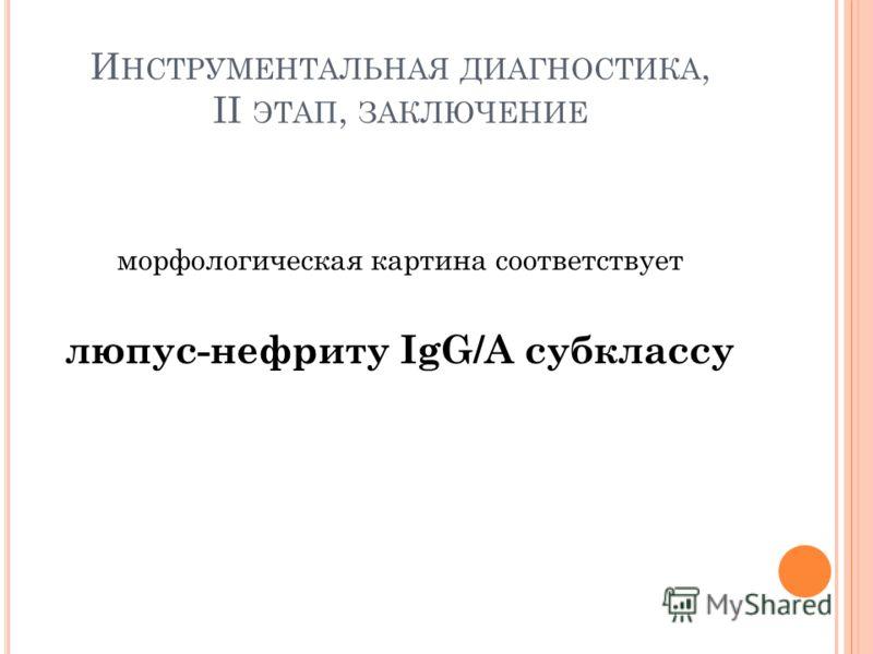 И НСТРУМЕНТАЛЬНАЯ ДИАГНОСТИКА, II ЭТАП, ЗАКЛЮЧЕНИЕ морфологическая картина соответствует люпус-нефриту IgG/A субклассу