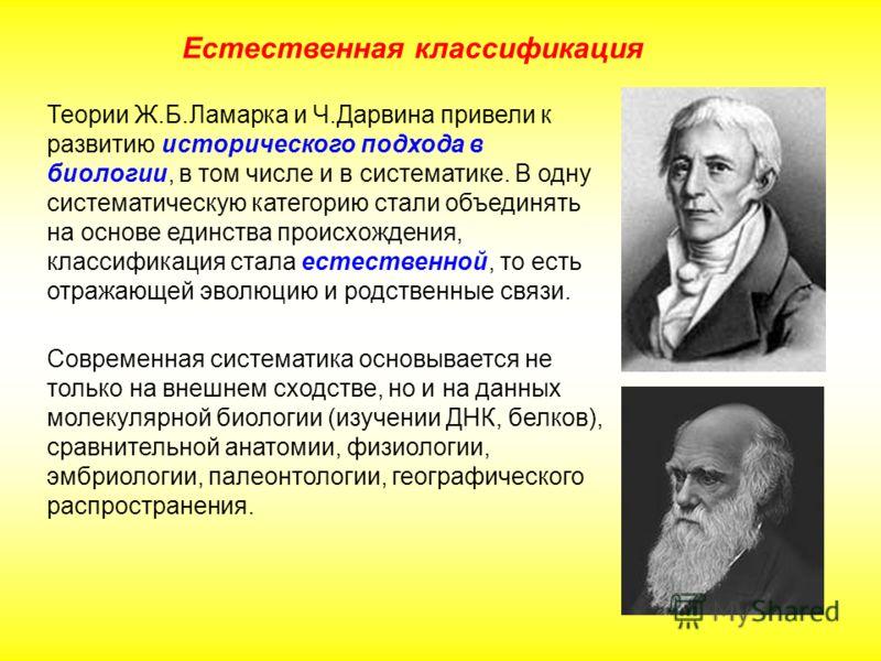 Теории Ж.Б.Ламарка и Ч.Дарвина привели к развитию исторического подхода в биологии, в том числе и в систематике. В одну систематическую категорию стали объединять на основе единства происхождения, классификация стала естественной, то есть отражающей