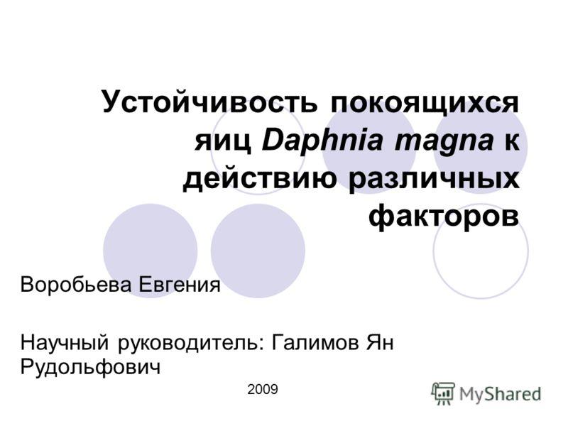 Устойчивость покоящихся яиц Daphnia magna к действию различных факторов Воробьева Евгения Научный руководитель: Галимов Ян Рудольфович 2009