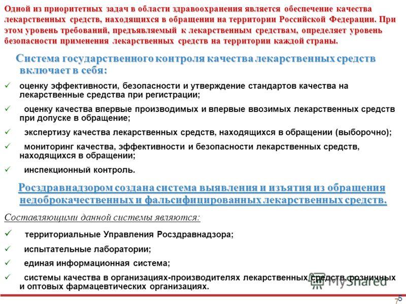 7 Одной из приоритетных задач в области здравоохранения является обеспечение качества лекарственных средств, находящихся в обращении на территории Российской Федерации. При этом уровень требований, предъявляемый к лекарственным средствам, определяет