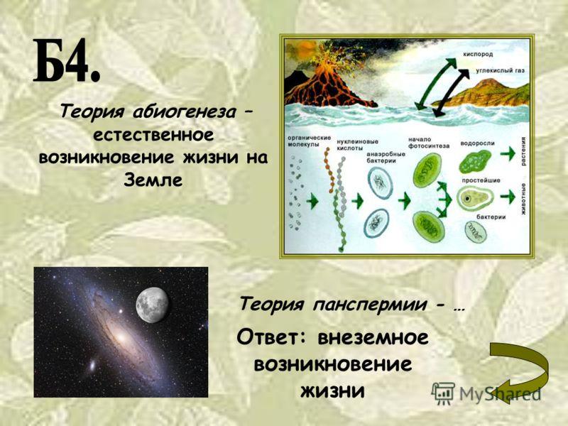 Теория абиогенеза – естественное возникновение жизни на Земле Теория панспермии - … Ответ: внеземное возникновение жизни