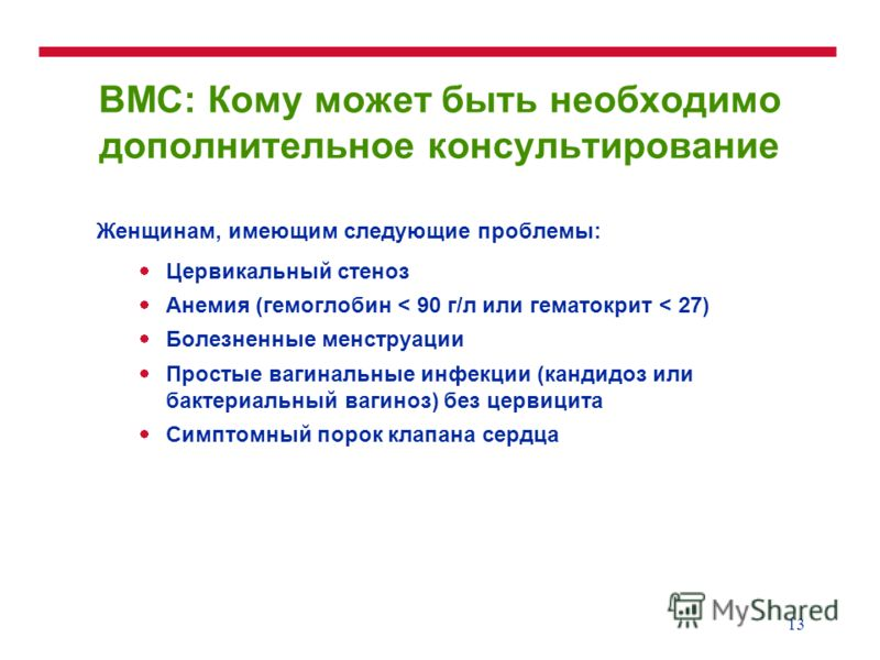 13 ВМС: Кому может быть необходимо дополнительное консультирование Женщинам, имеющим следующие проблемы: Цервикальный стеноз Анемия (гемоглобин < 90 г/л или гематокрит < 27) Болезненные менструации Простые вагинальные инфекции (кандидоз или бактериал