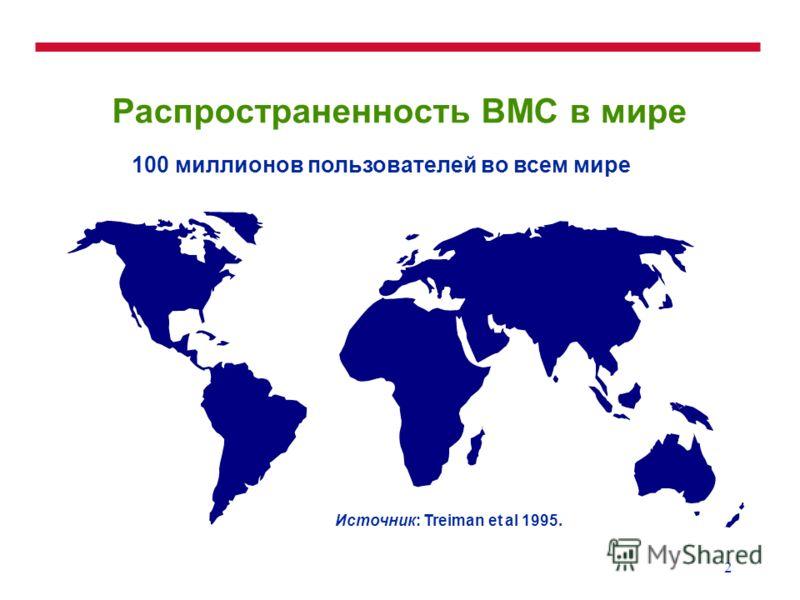 2 Распространенность ВМС в мире Источник: Treiman et al 1995. 100 миллионов пользователей во всем мире
