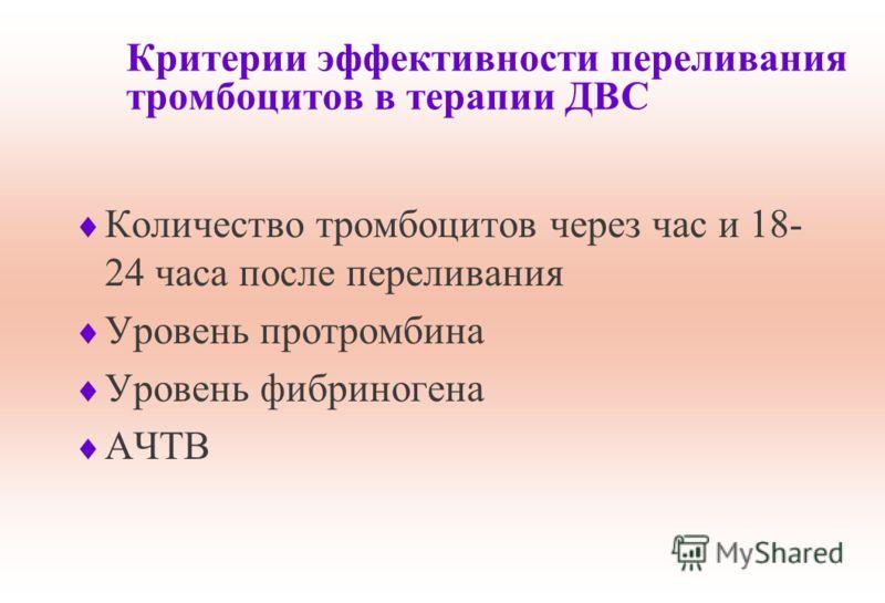 Критерии эффективности переливания тромбоцитов в терапии ДВС Количество тромбоцитов через час и 18- 24 часа после переливания Уровень протромбина Уровень фибриногена АЧТВ