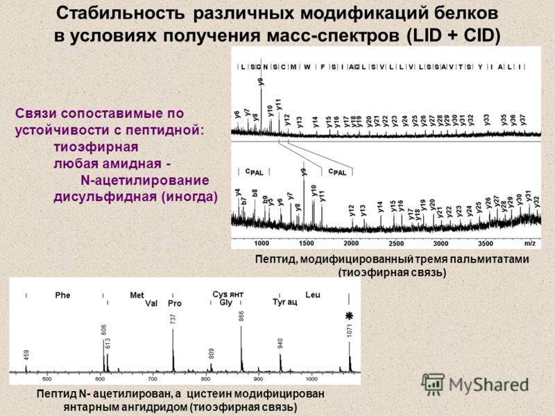 Стабильность различных модификаций белков в условиях получения масс-спектров (LID + CID) Связи сопоставимые по устойчивости с пептидной: тиоэфирная любая амидная - N-ацетилирование дисульфидная (иногда) Пептид, модифицированный тремя пальмитатами (ти