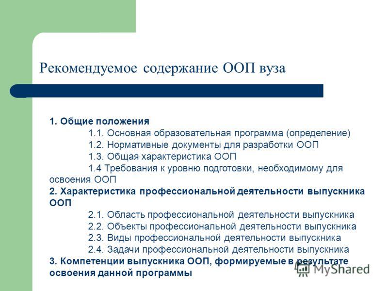 Рекомендуемое содержание ООП вуза 1. Общие положения 1.1. Основная образовательная программа (определение) 1.2. Нормативные документы для разработки ООП 1.3. Общая характеристика ООП 1.4 Требования к уровню подготовки, необходимому для освоения ООП 2