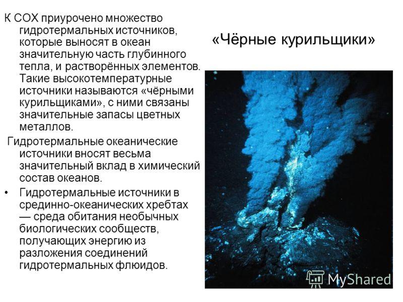 «Чёрные курильщики» К СОХ приурочено множество гидротермальных источников, которые выносят в океан значительную часть глубинного тепла, и растворённых элементов. Такие высокотемпературные источники называются «чёрными курильщиками», с ними связаны зн