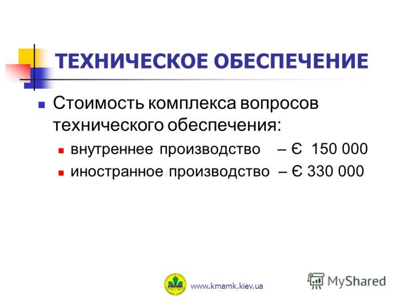 ТЕХНИЧЕСКОЕ ОБЕСПЕЧЕНИЕ Стоимость комплекса вопросов технического обеспечения: внутреннее производство – Є 150 000 иностранное производство – Є 330 000 www.kmamk.kiev.ua