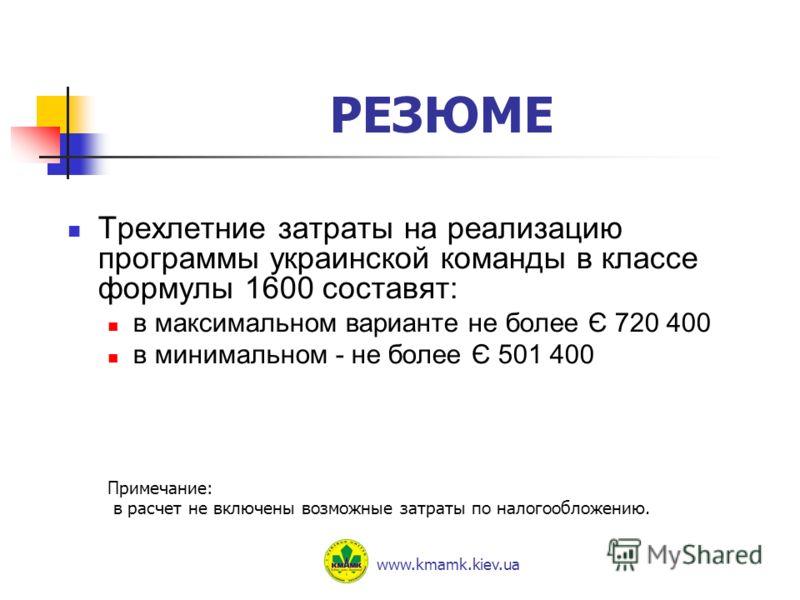 РЕЗЮМЕ Трехлетние затраты на реализацию программы украинской команды в классе формулы 1600 составят: в максимальном варианте не более Є 720 400 в минимальном - не более Є 501 400 Примечание: в расчет не включены возможные затраты по налогообложению.