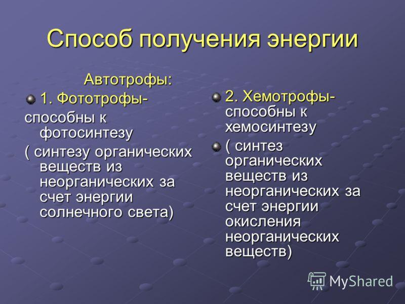 Способ получения энергии Автотрофы: Автотрофы: 1. Фототрофы- способны к фотосинтезу ( синтезу органических веществ из неорганических за счет энергии солнечного света) 2. Хемотрофы- способны к хемосинтезу ( синтез органических веществ из неорганически
